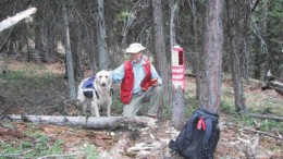 Almaden Minerals' qualified person, Ed Balon, and his dog Dakota, stake in situ quartz vein mineralization on the NIC showing, part of the Prospect Valley property in the Spences Bridge gold belt -- about 250 km east of Vancouver.