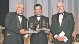From left: Allan Keats and Michael Stares, of Newfoundland and Labrador's Keats-Stares clan, receiving the Prospectors and Developers Association of Canada's Bill Dennis Prospector of the Year Award in 2007, from former PDAC president Peter Dimmell.