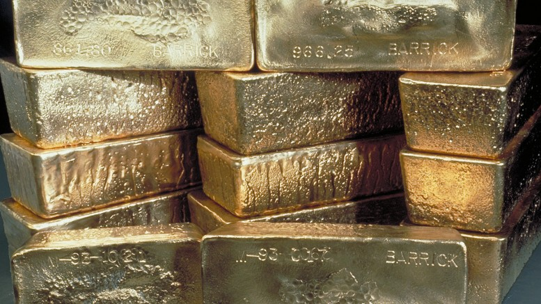 Gold bars. Credit: Barrick Gold