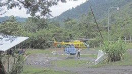 Helicopters at Anfield Nickel's Chulac camp, the main camp for its Mayaniquel nickel project in Guatemala.