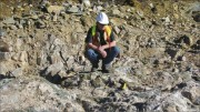 Senior geologist Jay Jackson at the Ct Lake deposit at Trelawney Mining's Chester gold project in northern Ontario. Photo by Trelawney Mining and Exploration