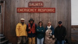 From left to right: Nick Pokhilenko, John McDonald, Joan McCorquodale, Sophie Taylor and Randy Turner -- most of the original Winspear team (Walter Melnyk is not pictured). The company's first exploration camp was at the Salmita past-producing gold mine. Photo by Randy Turner