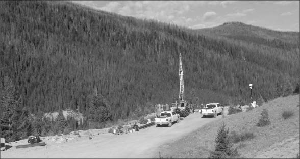 A drill rig at Midas Gold's Golden Meadows gold project in Idaho's Stibnite-Yellow Pine district. Photo by Midas Gold