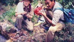 Senior geologist Al Workman and trainee geologist Waluyo Hadi on an epithermal gold project in Central Java, Indonesia in 1997. Photo by Watts, Griffis and McOuat