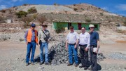 At Southern Silver Exploration's Cerro Las Minitas silver project in Durango, Mexico (from left): senior exploration manager Adrian Robles; general manager of exploration Robert MacDonald; vice-president of exploration Roger Scammell; director Jean-Pierre Colin; and Scotia Capital associate director and geologist Bob Jankovic. Photo by Ian Bickis