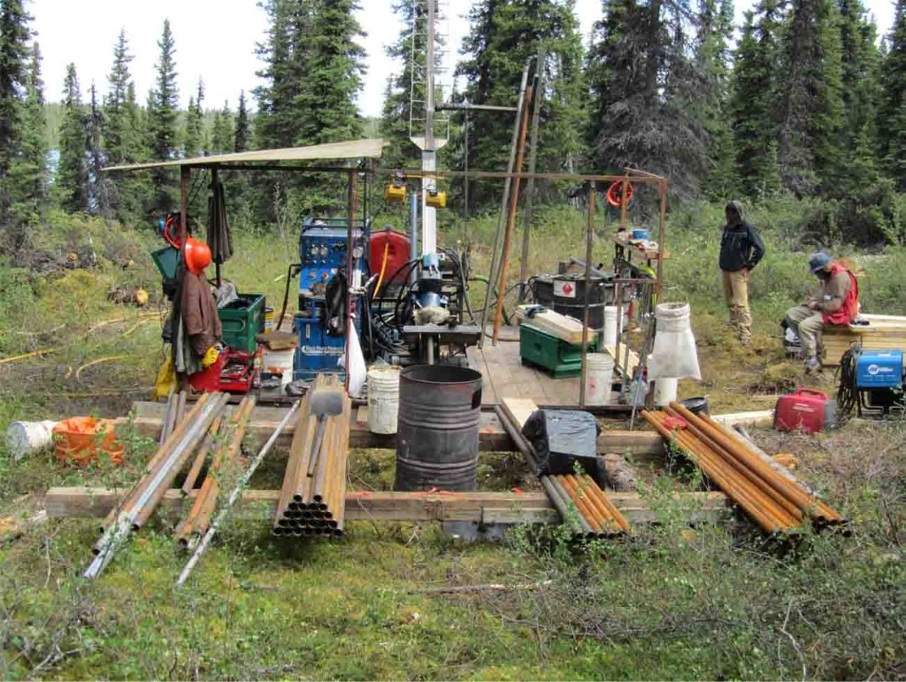 Drillers at a drill pad at the Ashram zone at Commerce Resources´ Eldor REE project in northern Quebec in 2012. Credit: Commerce Resources.