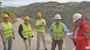 Colt Resources' vice-president and chief operating officer Declan Costelloe (far right) and president and CEO Nikolas Perrault (second from right) brief site visitors at the Tabuaco tungsten project in Northern Portugal. Photo by Salma Tarikh