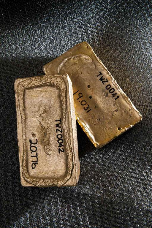Gold dor bars from Banro's Twangiza project in the Democratic Republic of the Congo. Photo by Banro