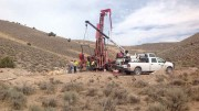 Drillers at work at Kirkland Mining's 12 Mile gold-silver target in Elko County, Nevada. Photo by Matthew Keevil