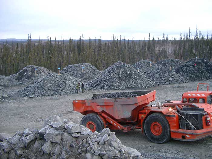 A truck hauls ore at Fortune Minerals' NICO gold-cobalt-bismuth-copper project in the Northwest Territories during test mining conducted in 2006 and 2007. Source: Fortune Minerals