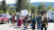 In Williams Lake, B.C., on July 22, 2013, anti-mine protestors march to the opening of the federal review public hearing for Taseko MInes' proposed New Prosperity copper-gold mine. Photo By Gwen Preston.