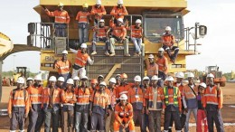 Employees pose for a picture at Teranga's Sabodala gold project in Senegal (2013). Source: Teranga Gold