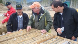 Examining core, far left CEO Conrad Swanson,  investor Ray Fortier, director Jim Petit and investor Dan Sider. Credit: Gold Reach Resources