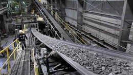 Conveyors move material in the processing plant at Coeur Mining's Kensington gold mine, 70 km northwest of Juneau, Alaska. Credit: Coeur Mining