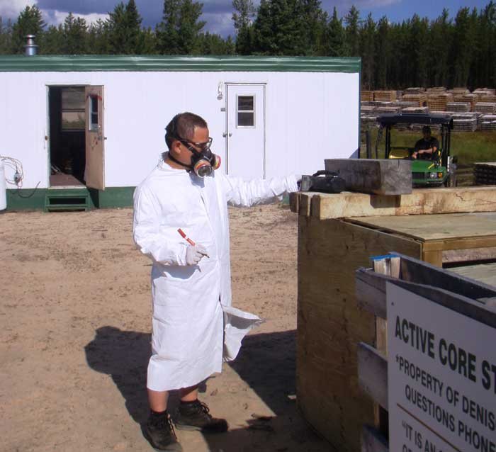 Project geologist Yongxing Liu at a core-storage facility at Denison Mines' Wheeler River uranium project in Saskatchewan. Credit: Denison Mines