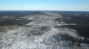 An aerial view of a glacial esker staked by KWG Resources for a railway corridor into the Ring of Fire. Credit: KWG Resources
