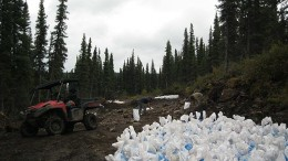 Workers collect a bulk sample at Commerce Resources' Eldor REE project in Quebec's Nunavik region. Credit: Commerce Resources