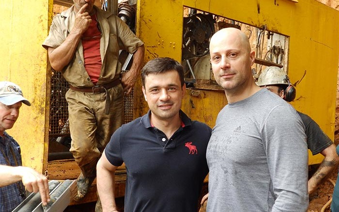 Nordgold CEO Nikolai Zelenski (left) and Columbus Gold CEO Robert Giustra at a drill site at the Paul Isnard gold project in French Guiana. Credit: Columbus Gold