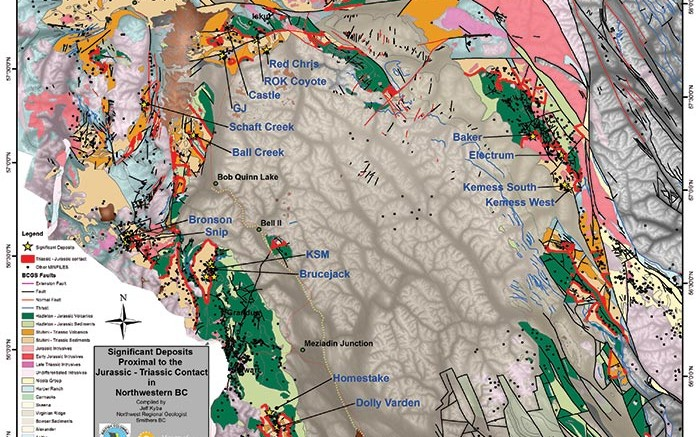 A map showing prospective areas in northwestern British Columbia. Credit: Jeff Kyba/BCGS