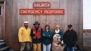 From left: Nick Pokhilenko, John McDonald, Joan McCorquodale, Sophie Taylor and Randy Turner - most of the original Winspear team (Walter Melnyk is not pictured). The company's first exploration camp was at the Salmita past-producing mine.