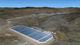 A rendering of Tesla Motors' planned Gigafactory - which will produce lithium-ion batteries - currently under construction in Storey County, Nevada. Credit: Tesla Motors