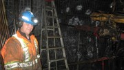 Christien Comeau takes a break from drilling at Trevali Mining's Caribou zinc-lead-silver mine in New Brunswick. Photo by Salma Tarikh.