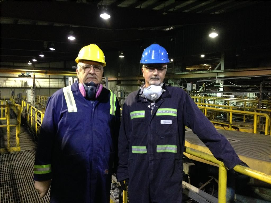 General foreman Albert Legacy (left) and Trevali Mining's CEO Mark Cruise at the 3,000-tonne-per-day mill at the Caribou zinc mine in Bathurst, New Brunswick. Photo by Salma Tarikh.