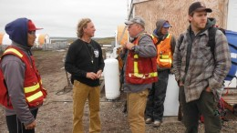 Northquest CEO Jon North (second from left) with colleagues at the Pistol Bay gold project, near the town of Whale Cove in eastern Nunavut. Credit: Northquest