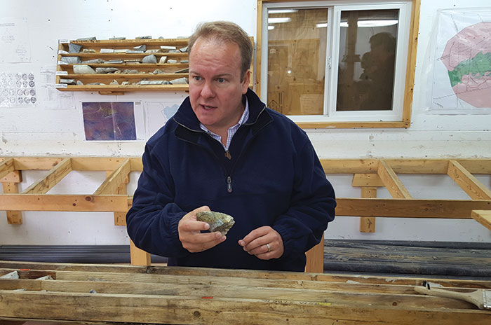 Western Copper and Gold president and CEO Paul West-Sells in the core shack at the Casino copper project, 50 km northwest of Carmacks in the Yukon. Photo by Matthew Keevil.