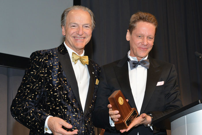 Pierre Lassonde (left), Franco-Nevada chair, with CMHF inductee Robert Friedland. Credit: Keith Houghton Photography