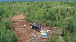 A drill rig in 2012 at New Millennium Iron's Taconite iron ore project in the Labrador Trough. Credit: New Millennium Iron