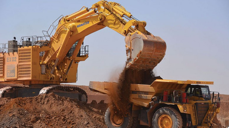 Ore from the Goulagou II pit is loaded into a haul truck at Endeavour Mining's Karma gold mine in Burkina Faso. Credit: True Gold Mining