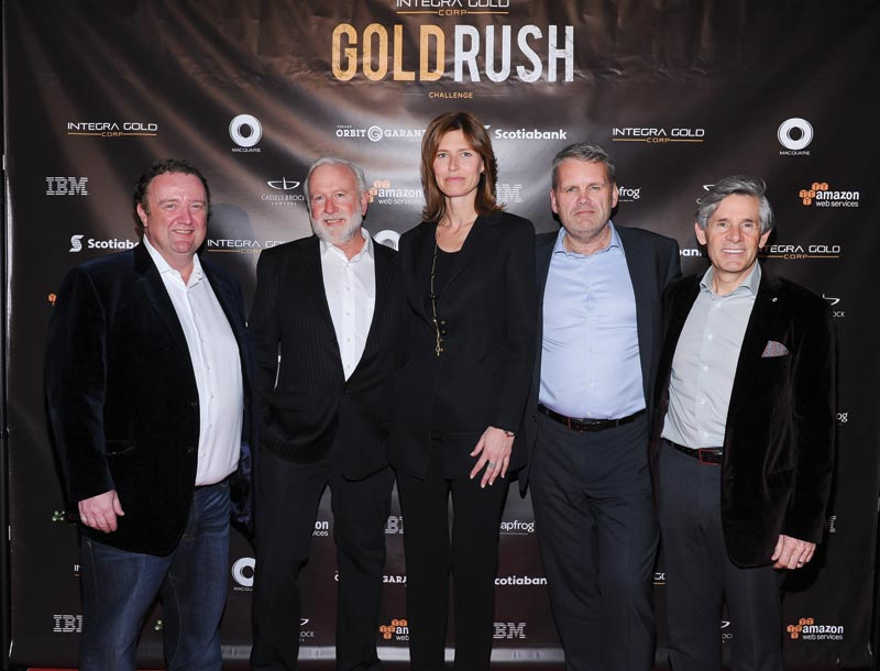 The judging panel, from left: Sean Roosen, chairman and CEO of Osisko Gold Royalties; Brent Cook, economic geologist and editor of Exploration Insights; Chantal Gosselin, director of Silver Wheaton; Randy Smallwood, CEO of Silver Wheaton; and Rob McEwen, founder of Goldcorp and McEwen Mining. Photo by George Pimentel Photography