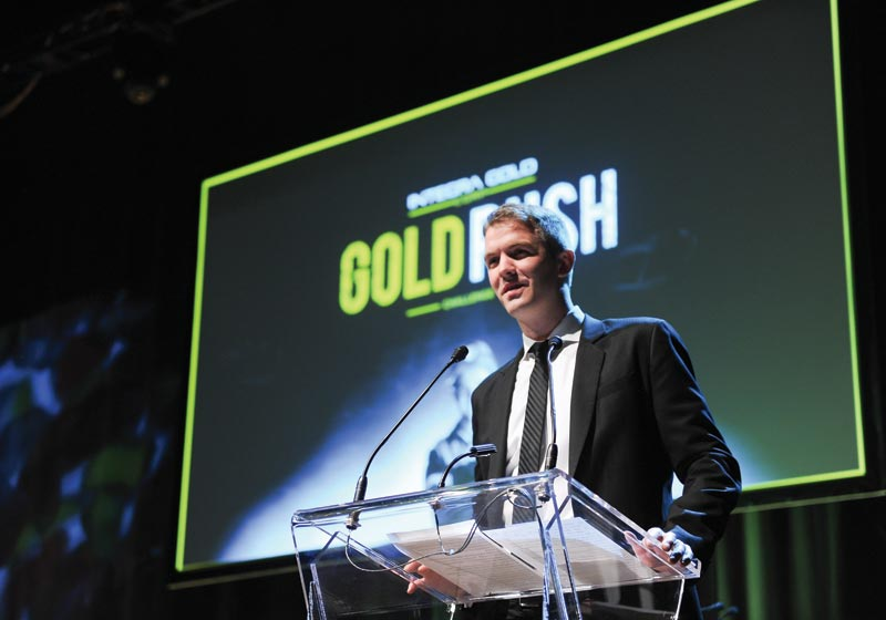 Integra Gold CEO Stephen de Jong addresses the crowd at the Gold Rush Challenge finale in Toronto.Photo by George Pimentel Photography