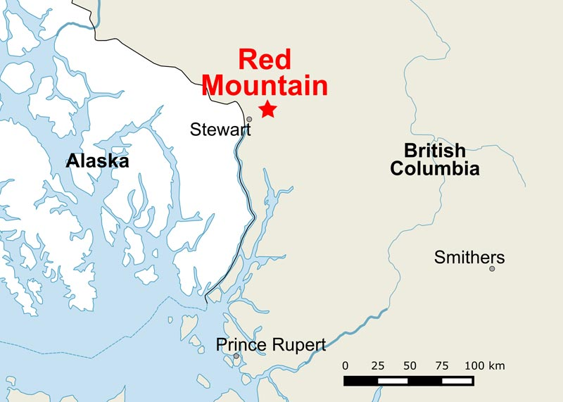 A map of IDM Mining's Red Mountain gold project in northwestern B.C. Credit: IDM Mining