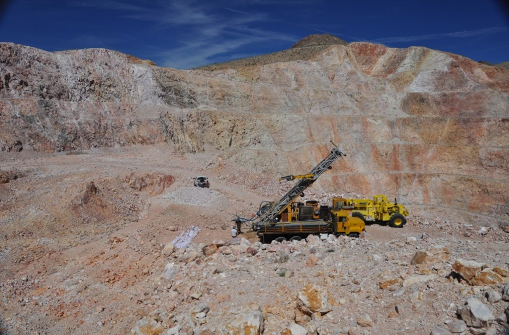 Drilling at the Castle Mountain site. Credit: NewCastle Gold.