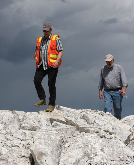 Nemaska Lithium president and CEO Guy Bourassa (left) and consultant Gary Pearse at the Whabouchi lithium project. Credit: Nemaska Lithium