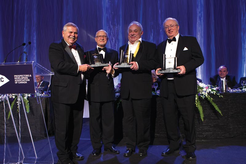 From left: Ed Thompson, chair of the PDAC Awards Committee, with Bill Dennis Award recipients Stephen Roman, Robert Cudney and John Whitton. Photo by Envisiondigitalphoto.com