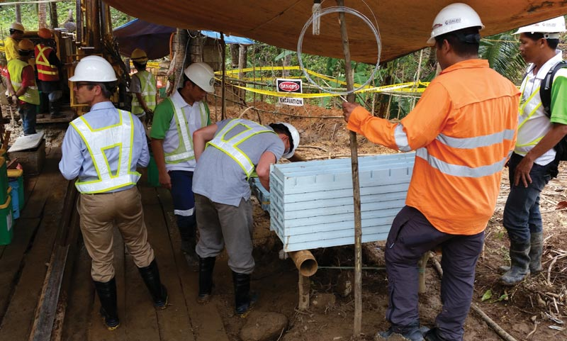 Drillers at RTG Mining's Mabilo copper-gold-magnetite project in the Philippines. Credit: RTG Mining