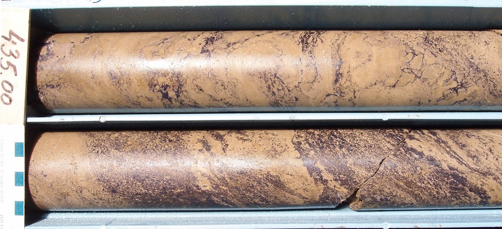 Massive sulfide in core from drill hole 1223 at Timok, which graded nearly 22% copper equivalent. Credit: Reservoir Minerals.