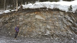 Senior geologist Jason Kosec at Barkerville Gold Mines' Cow Mountain gold project in south-central British Columbia. Credit: Barkerville Gold Mines