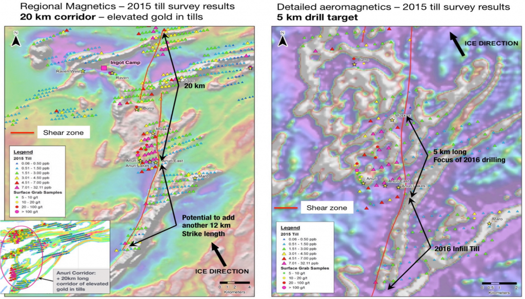 The newly-expanded Anuri corridor geochemical and magnetic results. Credit: Auryn Resources.