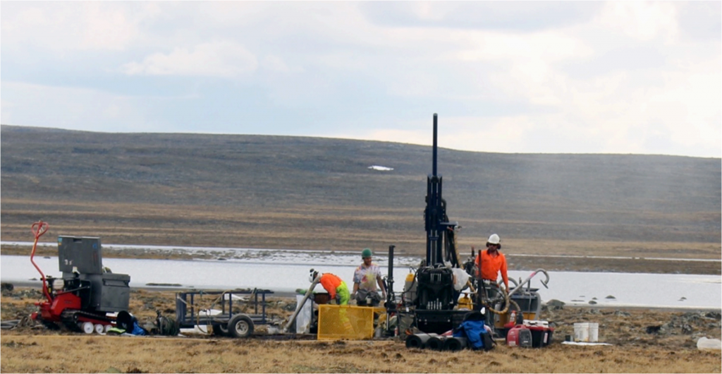 Drill crews at work on the Committee Bay land package. Credit: Auryn Resources.