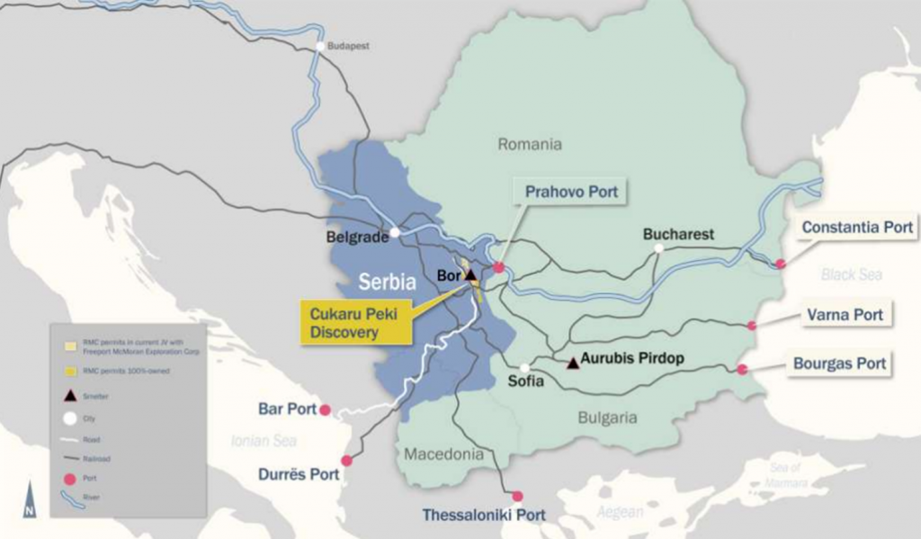 Location of the Cukaru Peki, within the Timok project, in Serbia. Credit: Reservoir Minerals.