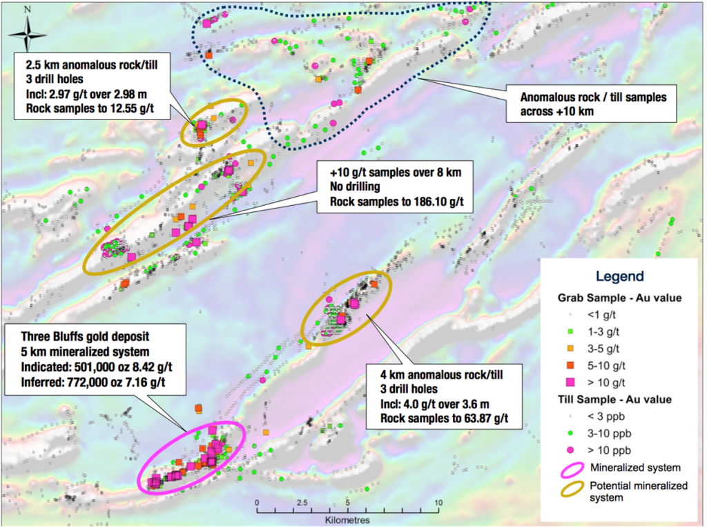 """The Three Bluffs """"playing field"""" at Committee Bay. Credit: Auryn Resources."""