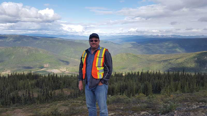 Victoria Gold president and CEO John McConnell at the Dublin Gulch gold project in the Yukon.  Photo by Matthew Keevil.