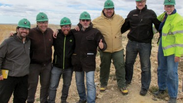 Hunt Mining president and CEO Tim Hunt (second from right) and country manager Danilo Silva (centre) with colleagues in Argentina. Credit: Hunt Mining.