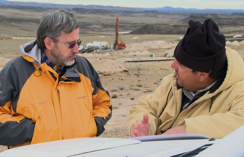 Hunt Mining's country manager Danilo Silva (left) and exploration manager Vicente Sanchez in Santa Cruz province.Credit: Hunt Mining.