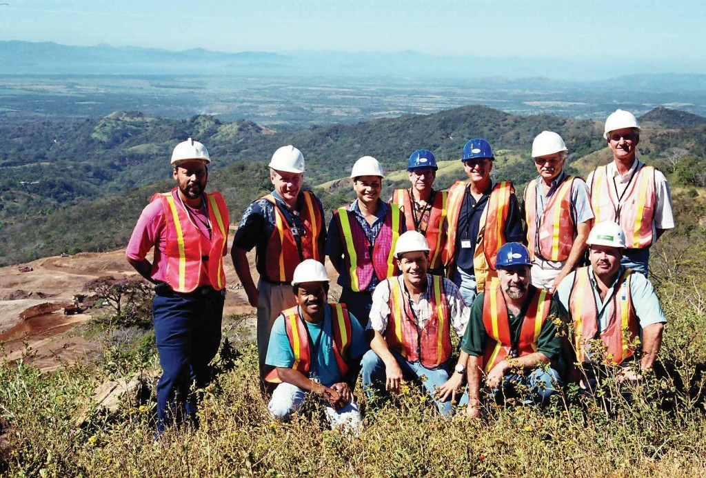 The Glencairn Gold team at the Bellavista gold mine under construction in Costa Rica in 2004, including Kerry Knoll (front, second from right) and Ian McDonald (standing, third from right).Photo by John Cumming