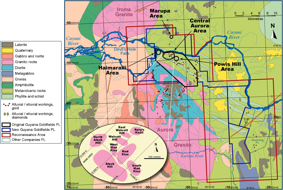 Geological map of the Aurora property. Credit: Guyana Goldfields.